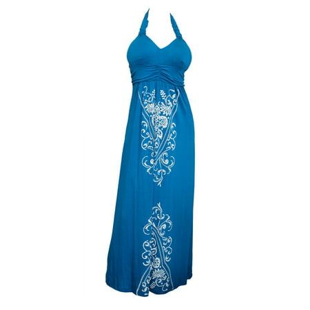 Plus Size Royal Blue Embroidery Print Maxi Halter Neck Cocktail (Royal Blue Maxi Dress)