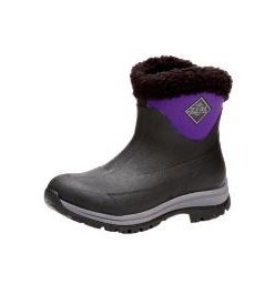Muck Boot Arctic Apres Cuffed Cozy Faux Slip On Fleece Lining Black Purple W6