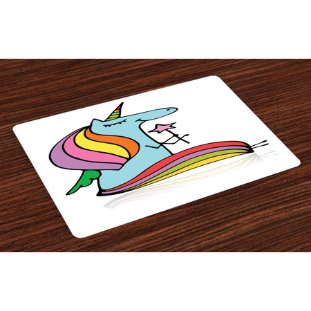 Unicorn Placemats Set of 4 Doodle Drawing of a Mythical Animal Colorful Horse with Horn Holding a Magic Wand, Washable Fabric Place Mats for Dining Room Kitchen Table Decor,Multicolor, by Ambesonne