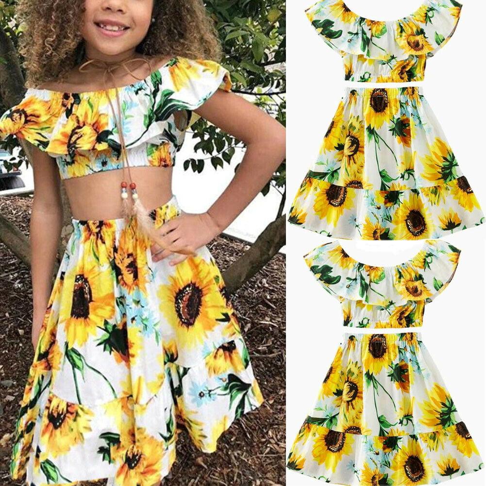 b4067ad2c086 Hirigin - 2Pcs Kids Baby Toddler Girl Sunflower Outfits Off Shoulder Crop  Tops + Skirt Clothes Set - Walmart.com