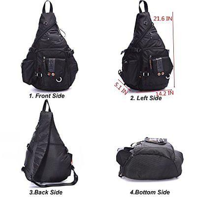 ab265589f5 DDDH - Large Sling Bags Crossbody Backpack 14.1-Inch Chest Daypack Travel  Bag Book - Walmart.com