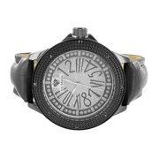 Mens Real Diamond Watch Black Gold Tone Steel Back Luxury Style Leather Band KC