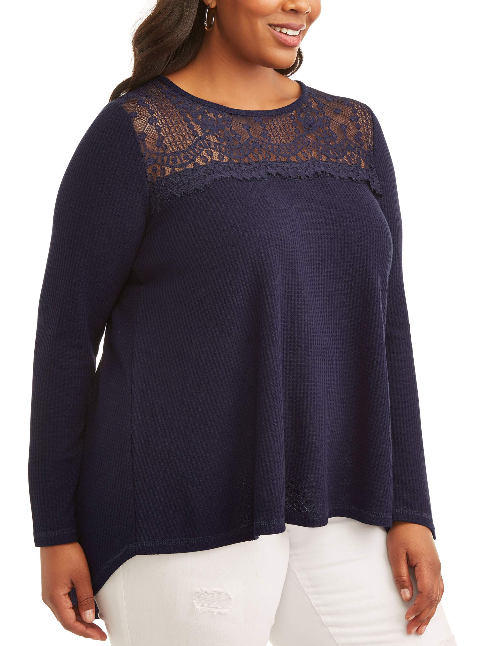 Women's Plus Scoop Neck Top with Lace Yoke