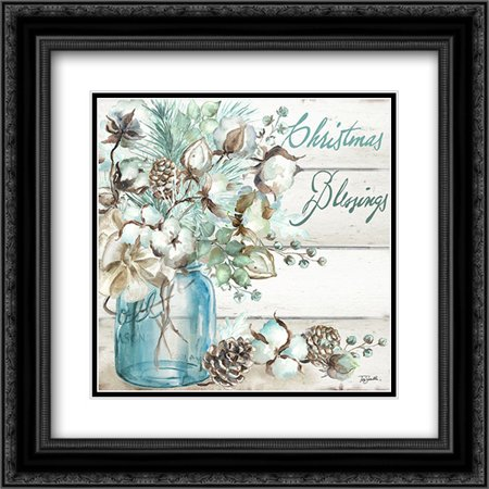 Christmas Blessings Mason Jar square 2x Matted 20x20 Black Ornate Framed Art Print by Tre Sorelle Studios