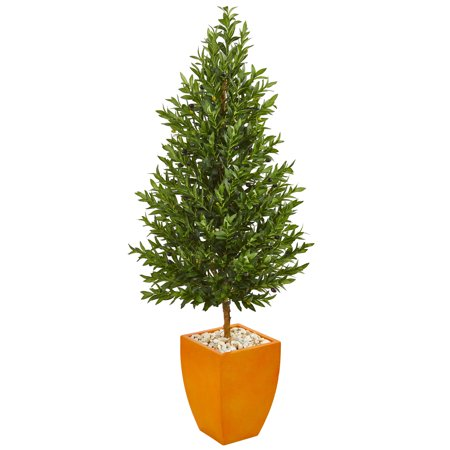 Nearly Natural 5.5-Ft. Olive Cone Topiary Artificial Tree in Orange Planter UV Resistant (Indoor/Outdoor) Olive Tree Topiary