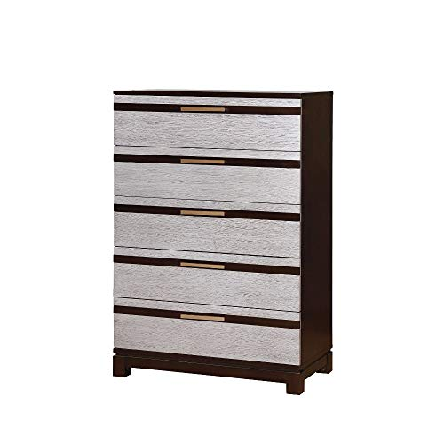 Wooden Chest With 5 Drawers, Silver & Espresso Brown