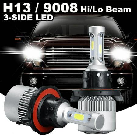 GTP 2PCS COB H13 9008 3-Side LED Headlight Kit Hi-Lo Beam Bulb 16000LM Super White 6000K For Dodge Ram 1500 2500 3500
