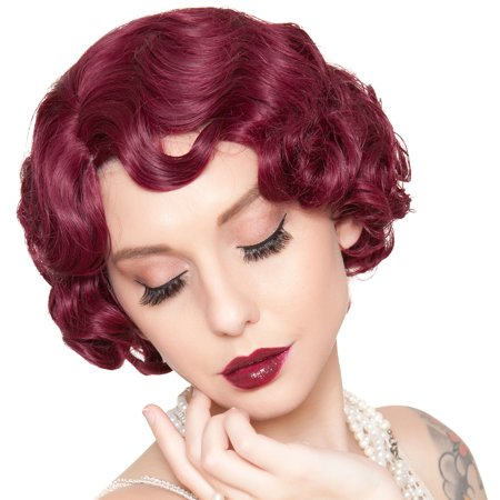 Finger Wave Wig (Rockstar Wigs Burgundy Finger Wave Flapper Wig, Halloween Costumes Accessory, For Adults, One)