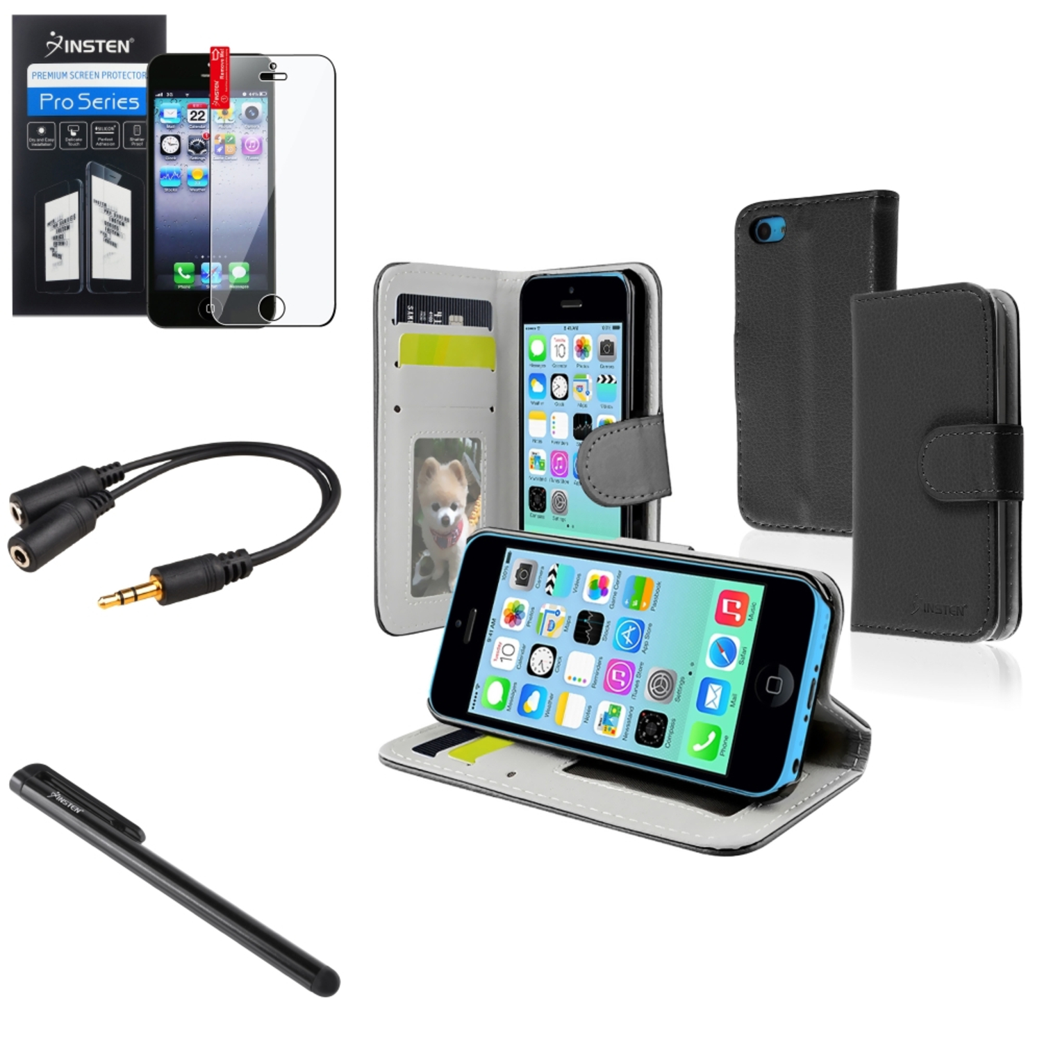 Insten Black Stand Wallet Card Leather Case Clip Stylus Pen Clear Protector Splitter For iPhone 5C