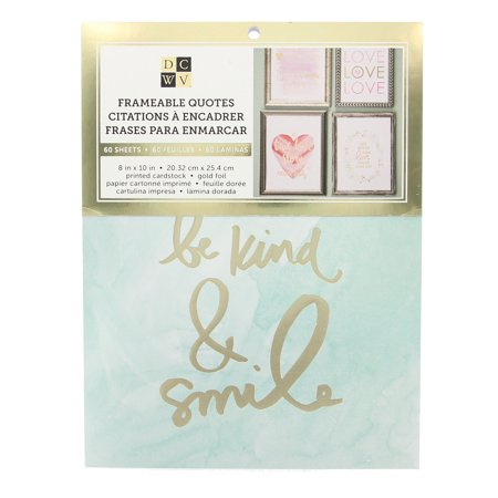 Gold Foil Sheets (American Crafts DCWV Watercolor Frameable Quotes Stack Prints - 40 Sheets 8