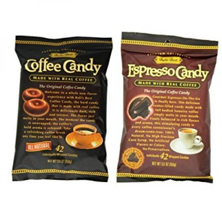 bali's best 100% natural coffee candy 2 flavor 6 bag variety bundle: (3) bali's best coffee candy, and (3) bali's best espresso candy, 5.3 oz. ea. (6 bags