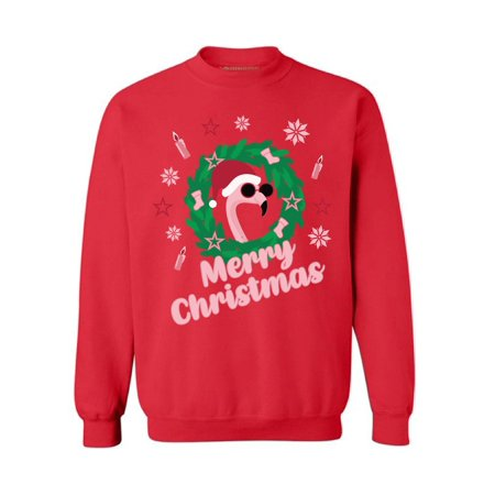 Awkward Styles Merry Christmas Flamingo Sweatshirt Flamingo Ugly Christmas Sweater for Women Funny Christmas Gifts Santa Flamingo Ugly Sweater for Men Flamingo Christmas Party Outfit Flamingo Sweater](Mens Funny Christmas Sweaters)