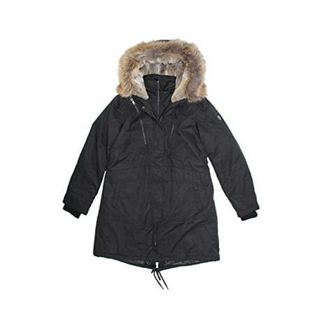 1 Madison Expedition Ladies' Anorak Jacket Coat/Faux Fur Hood (Black, Large)