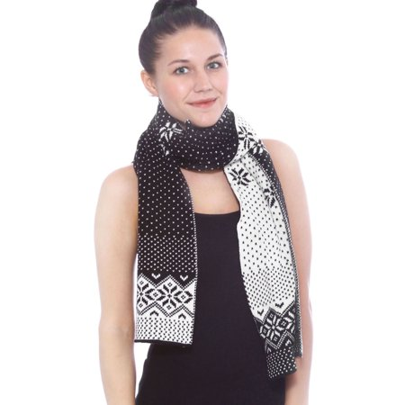 Simplicity Snowflake Elegant Soft Knitted Stripes Tassel Long Wrap Warm Scarf, Black