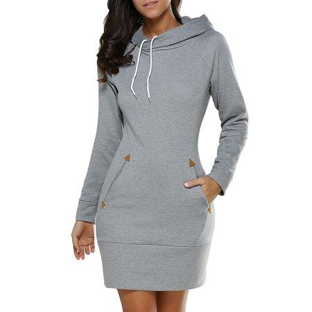 Hooded Mini (Babula Women Hooded Sweatshirt Slim Bodycon Mini)