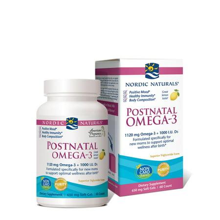 Nordic Naturals Postnatal Omega 3 Softgels  Lemon  60 Ct