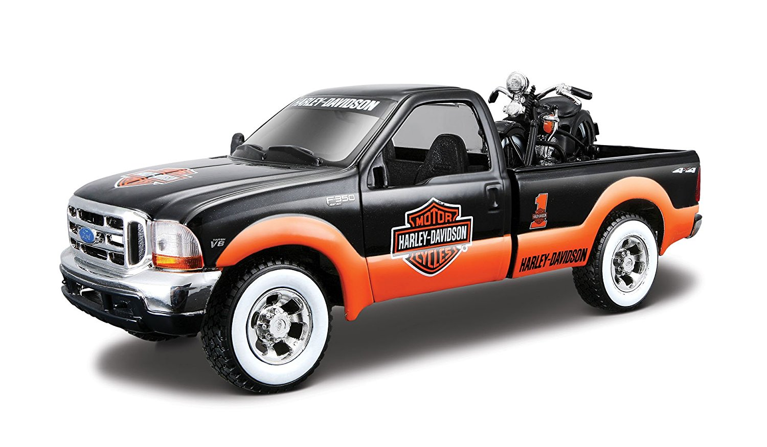 1:24 Scale 1999 Ford F-350 SD and Harley Davidson 1936 EL Knucklehead Diecast Vehicles,... by