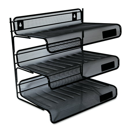 Universal Deluxe Mesh Three-Tier Desk Shelf, 3 Sections, Letter Size Files, 13.25