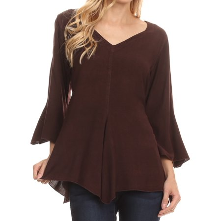 Sakkas Geena Long Tall V Neck 3/4 Length Bell Sleeve With Adjustable Side Straps - Chocolate - S/M