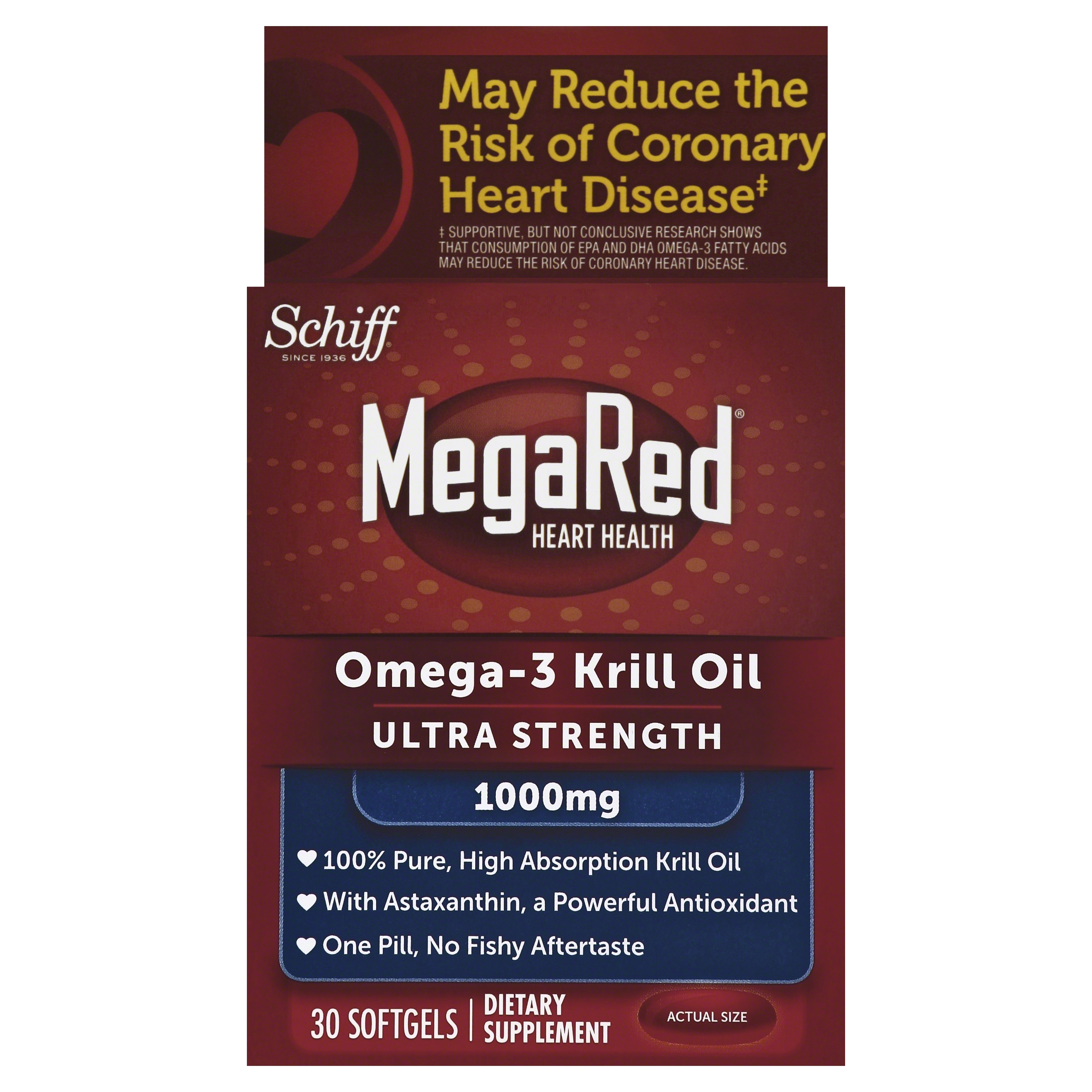 MegaRed Ultra Strength Omega 3 Krill Oil 1000mg Supplement, 30 Count
