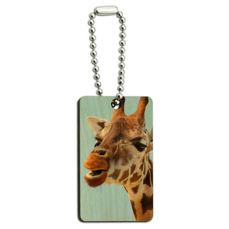 Funny African Giraffe Wood Rectangle Key -