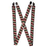 Buckle Down  Women's Elastic 1 Inch Wide Clip-End Owl Print Suspenders