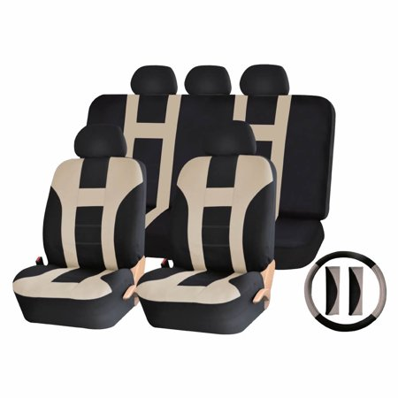 U.A.A. Inc ® 12 Piece Beige & Black Premium Double Stitched Seat Covers & Steering Wheel Cover Set Universal-Fit