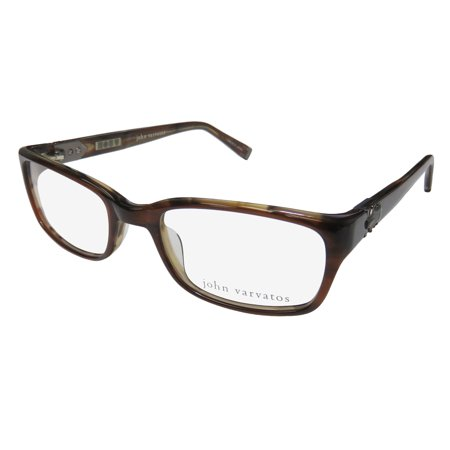 New John Varvatos V344 Mens Designer Full-Rim Brown Premium Ultimate Comfort Optical Frame Demo Lenses 51-19-140 Eyeglasses/Eyewear