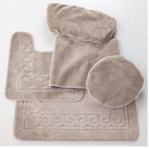 SCROLL 5 PIECE BATH RUG, CONTOUR, LID, TANK LID & TANK CO...