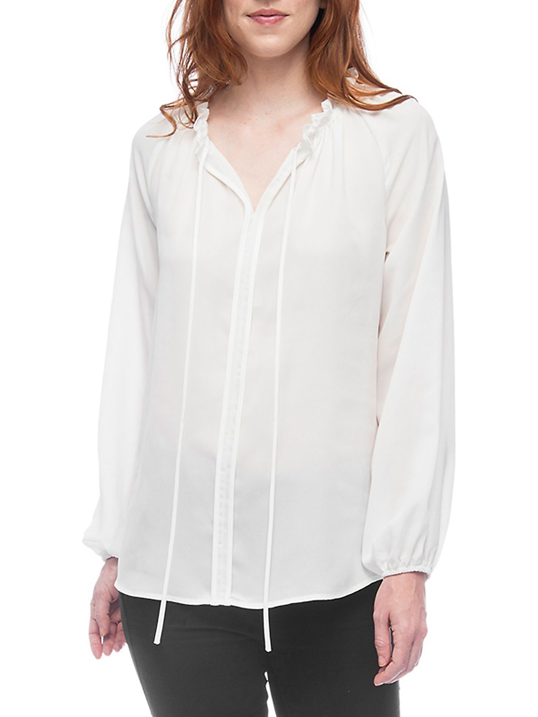 Lorelai Shirred Tie-Neck Blouse