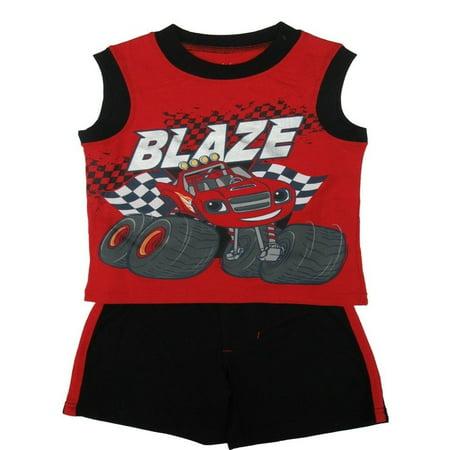 Nickelodeon Little Boys Red Blaze Car Sleeveless Top 2 Pc Shorts Set