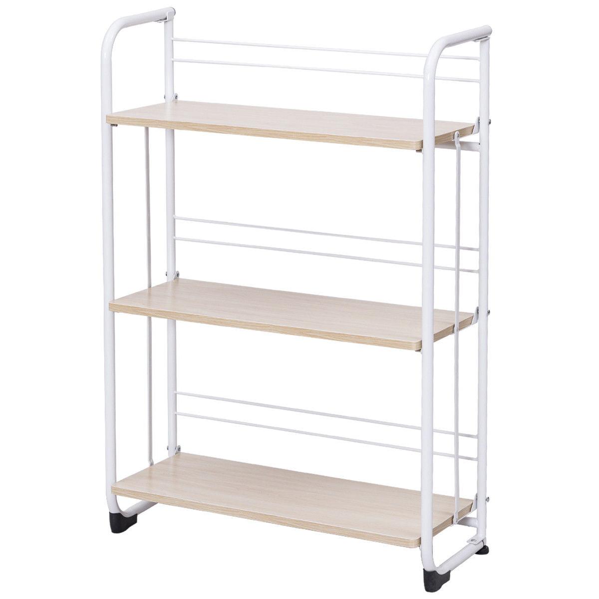 Gymax Folding 3 Tier Shelves Organization Storage Utility Shelving Unit Standing Rack - image 10 of 10