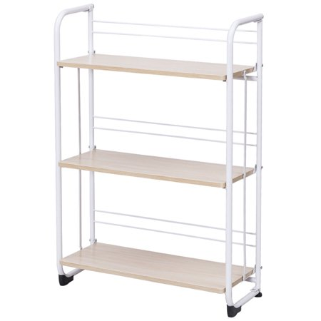 Gymax Folding 3 Tier Shelves Organization Storage Utility Shelving Unit Standing Rack