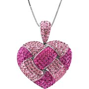 Sterling Silver Heart Pendant With Pink