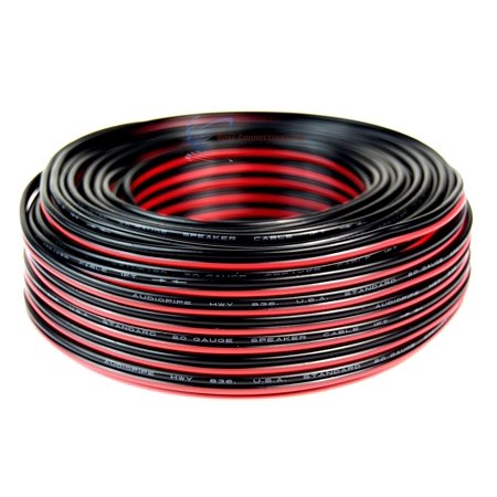 Audiopipe 100' ft 20 Gauge Red Black Stranded 2 Conductor Speaker Wire for Car Home Audio Installation