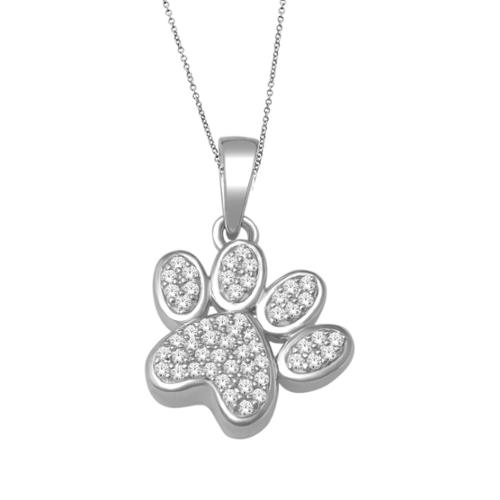 De Couer  10k White Gold 1/8ct TDW Dog Paw Print Necklace