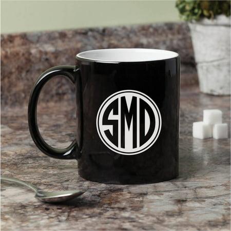 Personalized Black And White (Monogram Black and White Personalized 11 oz Coffee Mug )
