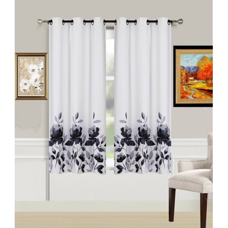 2-Piece Flower Black Printed Lined Blackout Grommet Window Curtain Treatment, Set Of Two (2) Floral Pattern Room Darkening Panels 37