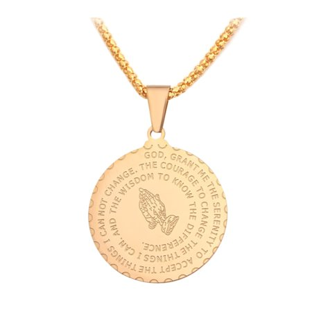 Serenity Prayer Praying Hands Goldtone Anti-Tarnish Coin Design Necklace Pendant, - Gold Coin Necklace