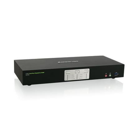 IOGEAR 2-Port 4K Dual View DisplayPort KVMP with USB 3.0 Hub and Audio