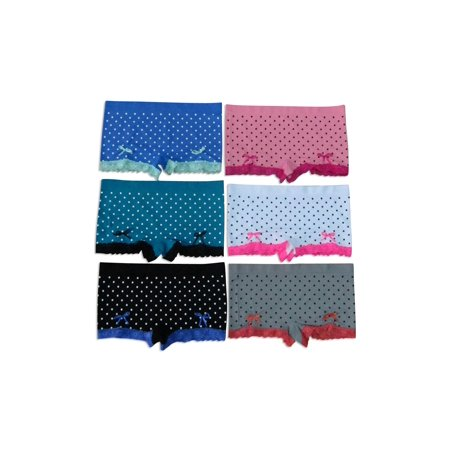 Women's 6-Pack Seamless Assorted Colors Polkadot Lace Trim Boyshorts