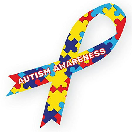 Set of 2 Autism Awareness Ribbon Car Magnets - 8