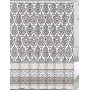 Charcoal Grey Tan White Fabric Shower Curtain for Bathroom: Floral Damask with Geometric Border Design