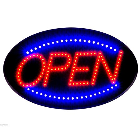 Cleveland Indians Neon Sign - Jumbo 24' x 13' LED Neon Sign with Motion - 'OPEN' (Red/Blue) B30