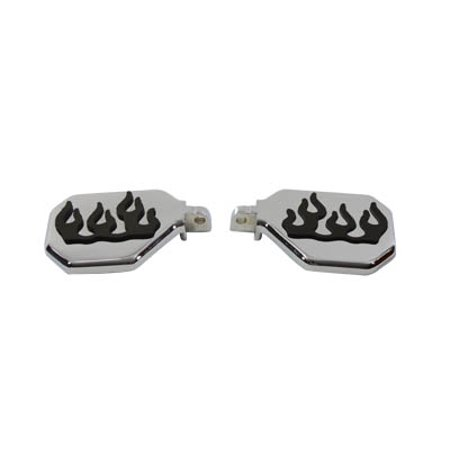 Passenger Mini Footboard Set with Flame Design,for Harley Davidson,by V-Twin