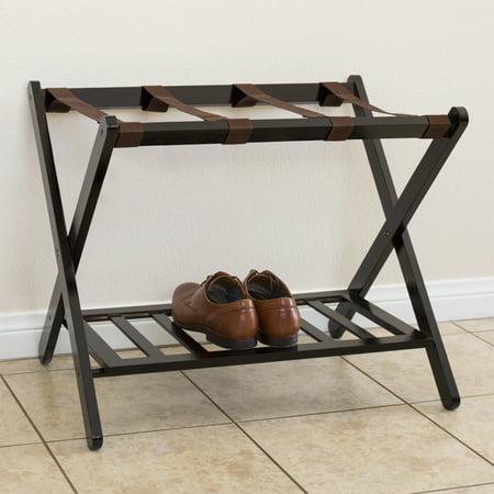 Best Choice Products Folding Luggage Rack w/ Shelf, Nylon Straps, 110lb Capacity - (Straps Luggage Rack)