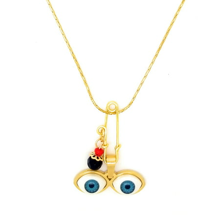 14kt GP Eyes Saint Lucky Azabache Charm Gold Stainless Steel & 18
