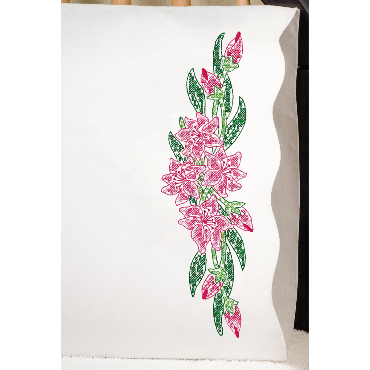 "Tobin Tiger Lily Stamped Pillowcase Pair, 20"" x 30"""