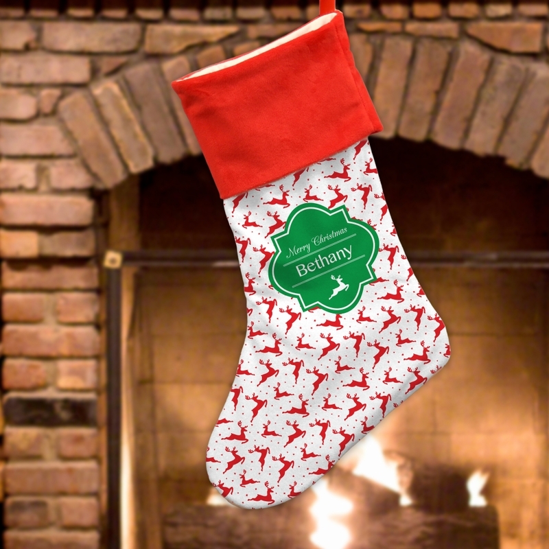 "Personalized Gifts Reindeer Christmas Stocking (Small 7""L x 12 1/2""H or Large 11""L x 18""H)"