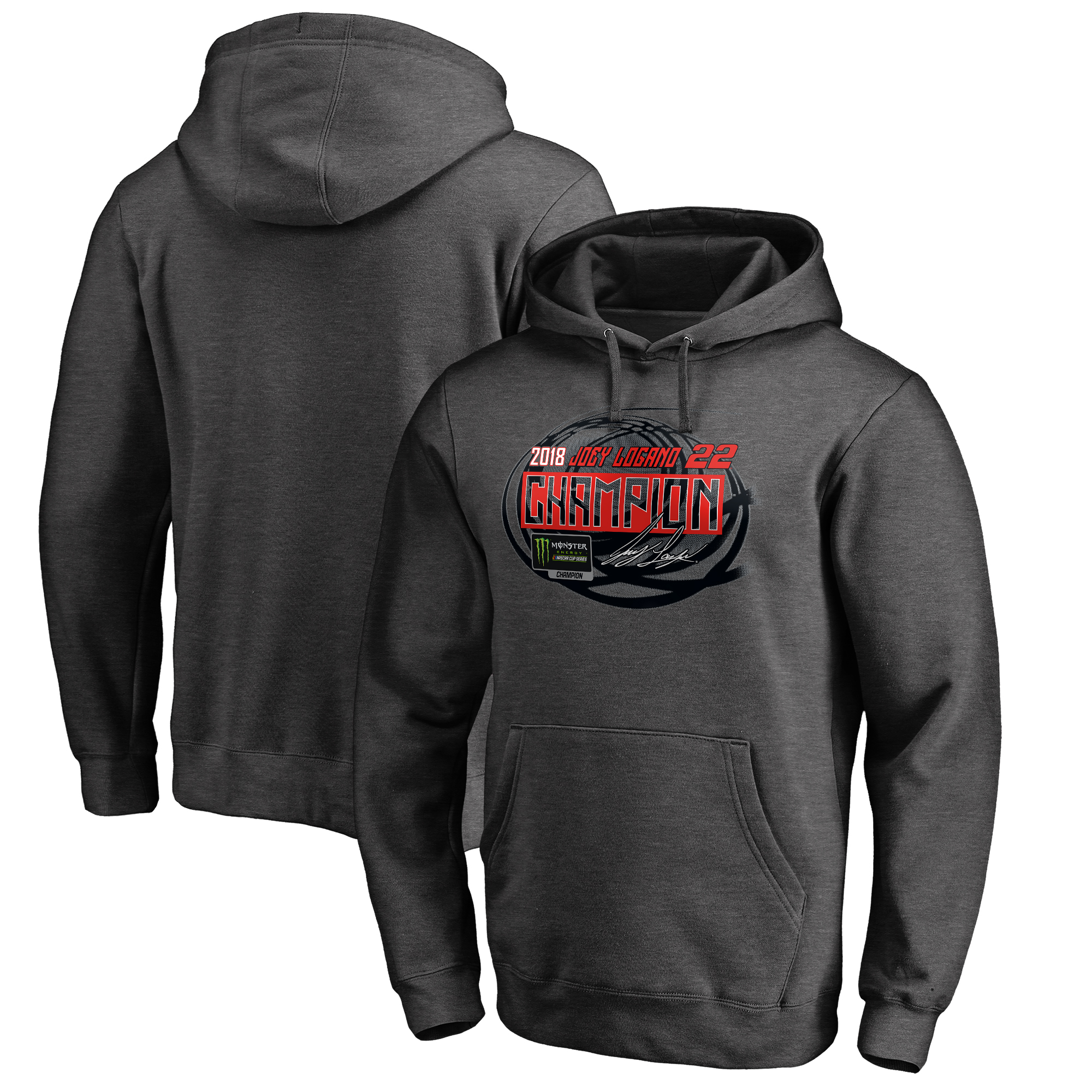 Joey Logano Fanatics Branded 2018 Monster Energy NASCAR Cup Series Champion Winner's Circle Pullover Hoodie - Heather Gray